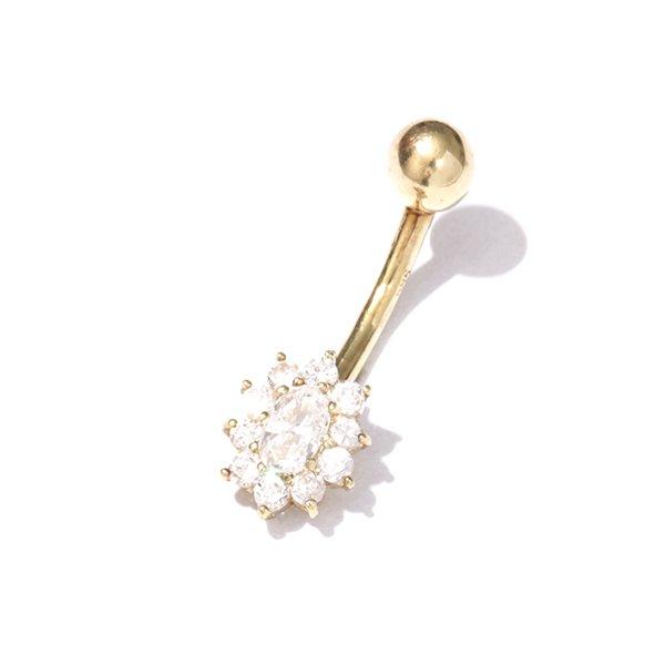 Zlatý piercing se zirkony