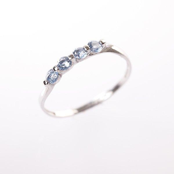Zlatý prsten s akvamaríny vel. 55