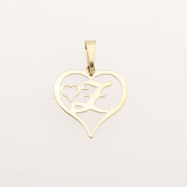 Zlatý přívěs srdce s písmenem Z