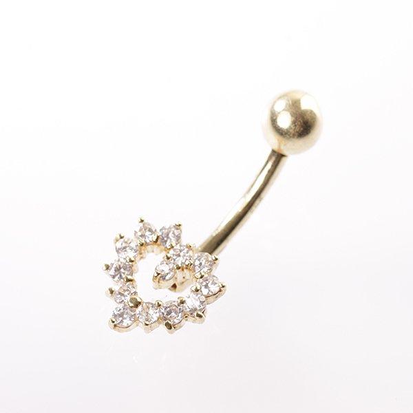 Zlatý piercing srdce s kamínky