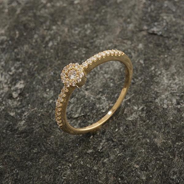 Zlatý prsten se zirkony vel. 55