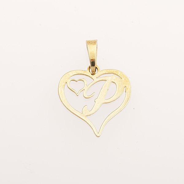 Zlatý přívěs srdce s písmenem P