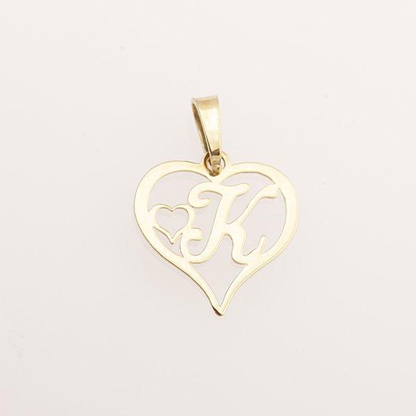 Zlatý přívěs srdce s písmenem K