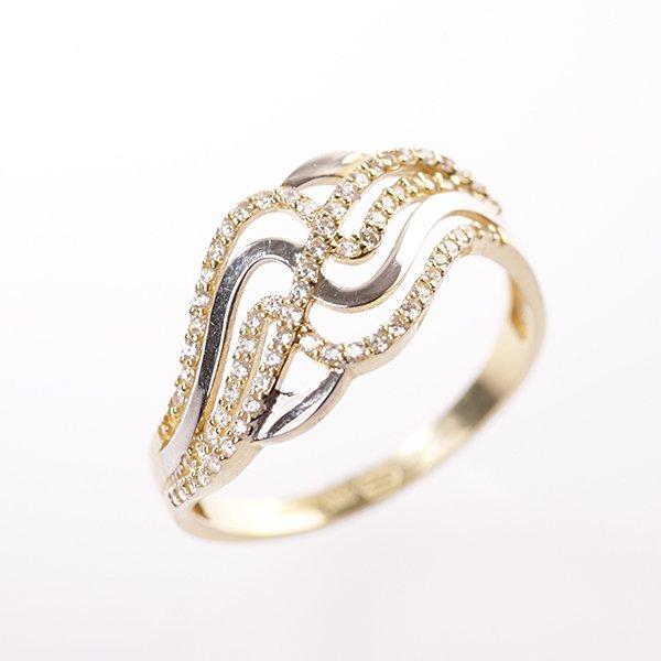 Zlatý prsten se zirkony vel. 60